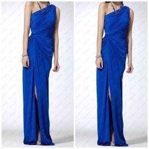 Cache One-Shoulder Cobalt Blue Draped Evening Gown